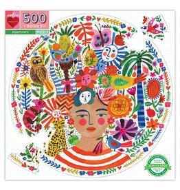 eeBoo Positivity 500 Pc Round Puzzle