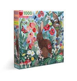 eeBoo Poppy Bunny 1000 Pc Sq Puzzle