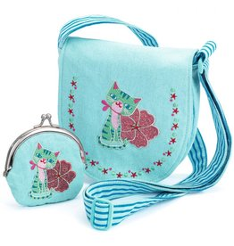 Djeco Kitten Embroidered Bag And Coin Purse