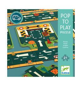 Djeco Roads Pop & Play Puzzles