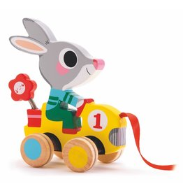 Djeco Wooden Pull Along Toy Rabbit Roulapic
