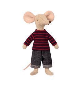 Maileg Dad Mouse,  Striped Sweater and Jeans