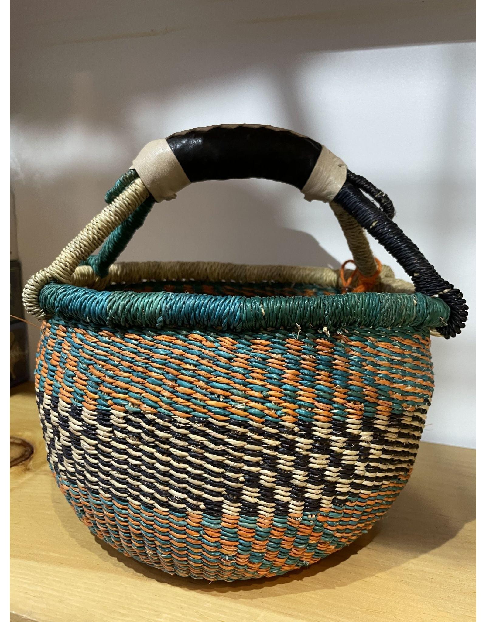 Big Blue Moma Colourful Bolga Basket Small T/O/B
