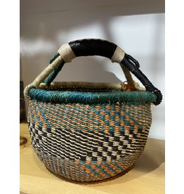 Big Blue Moma Colourful Bolga Basket Small T/O/B