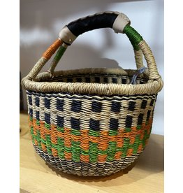 Big Blue Moma Colourful Bolga Basket Small R/B/N