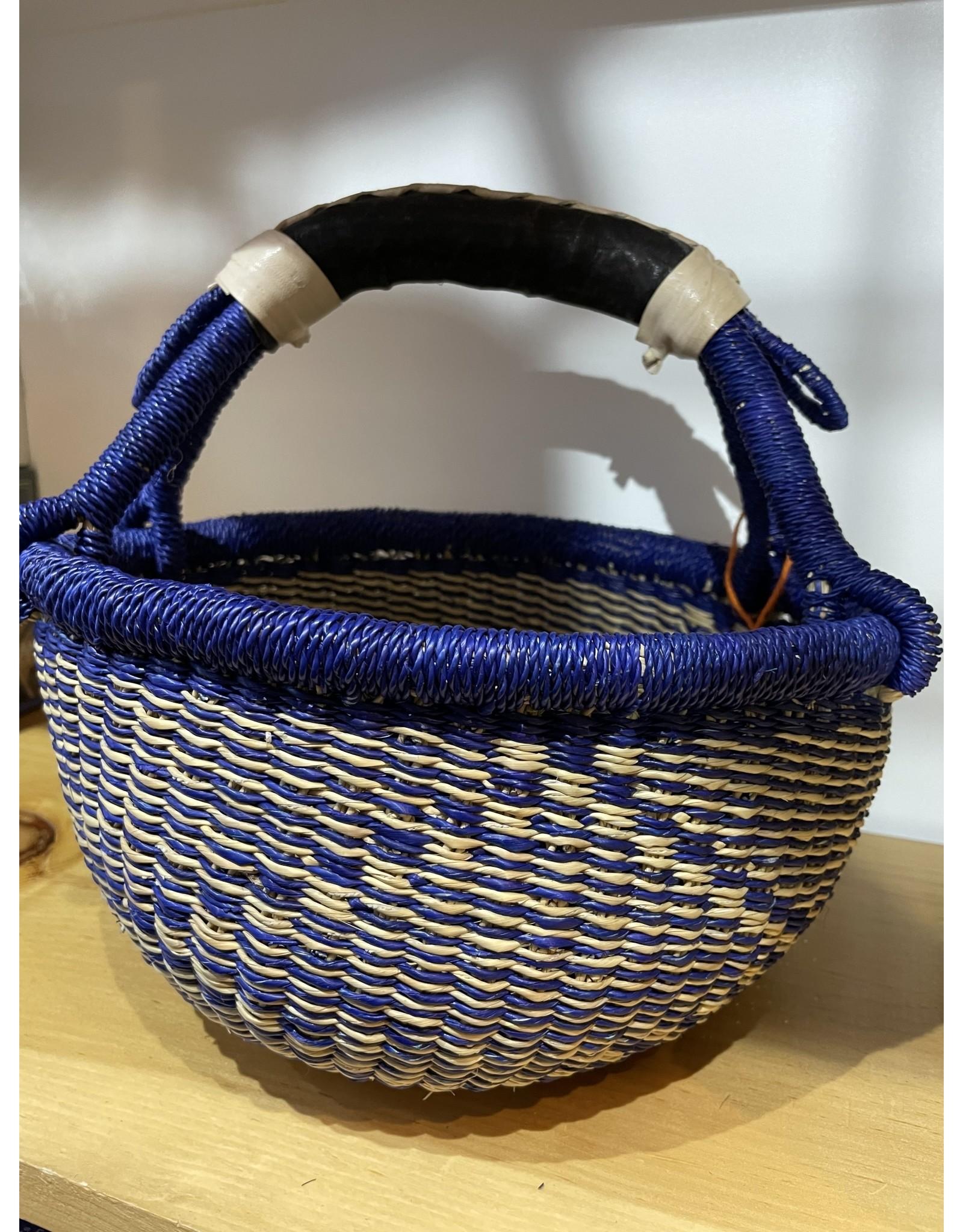 Big Blue Moma Colourful Bolga Basket Small B/N