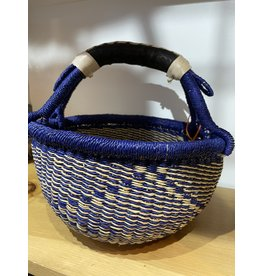 Big Blue Moma Colourful Bolga Basket Small B/N
