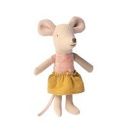 Maileg Little Sister In Ochre Skirt In Matchbox