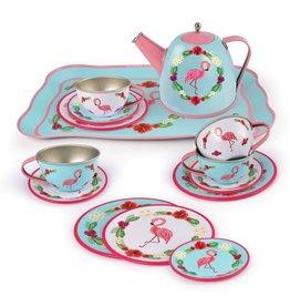 Playwell 15pc Flamingo Tin Tea Set