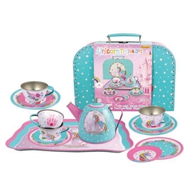 Playwell Unicorn Tin Tea Set In Carry Case