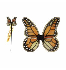 Great Pretenders Monarch Wings & Wand Set, Orange/Black
