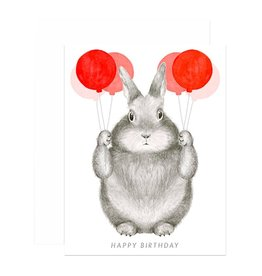 Paper E Clips Bunny With Balloons Card