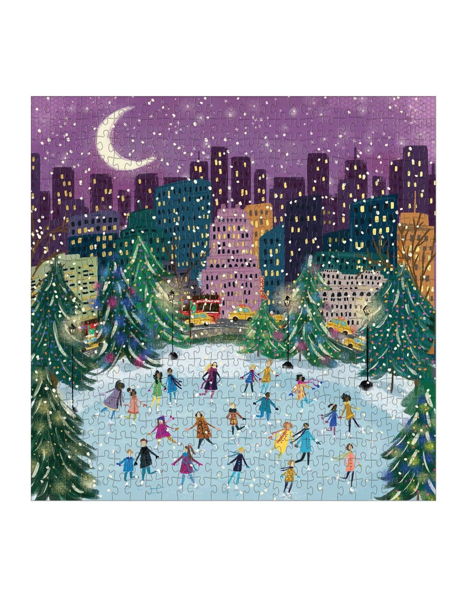 Galison Merry Moonlight Skaters 500 Piece Puzzle