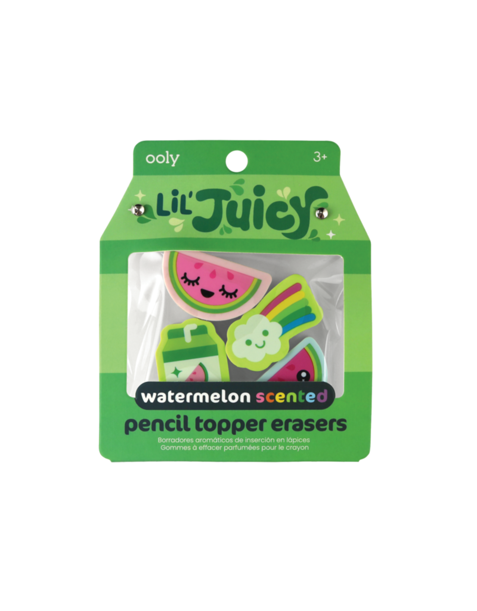 Ooly Lil' Juicy Scented Pencil Topper Erasers - Watermelon (SET Of 4)