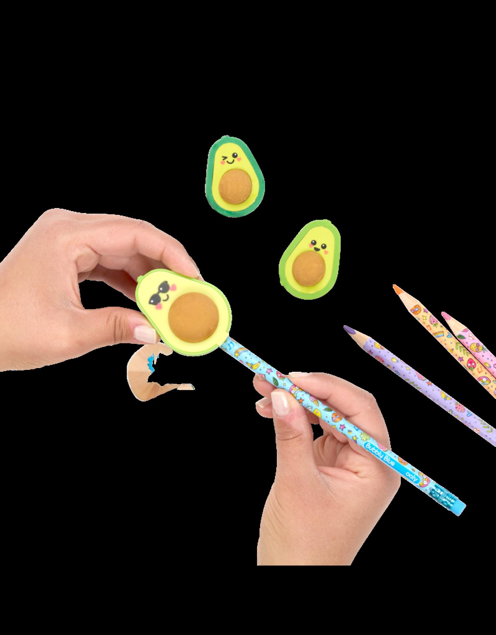 Ooly Avocado Love Eraser And Sharpener - Set Of 3