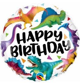 "Birthday Colourful Dinosaurs 18"" Round"