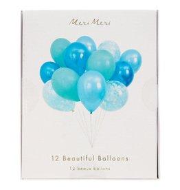 Meri Meri Beautiful Balloons Blue Set of 12