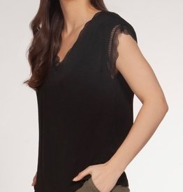 Dex V-Neck Lace Trim Top