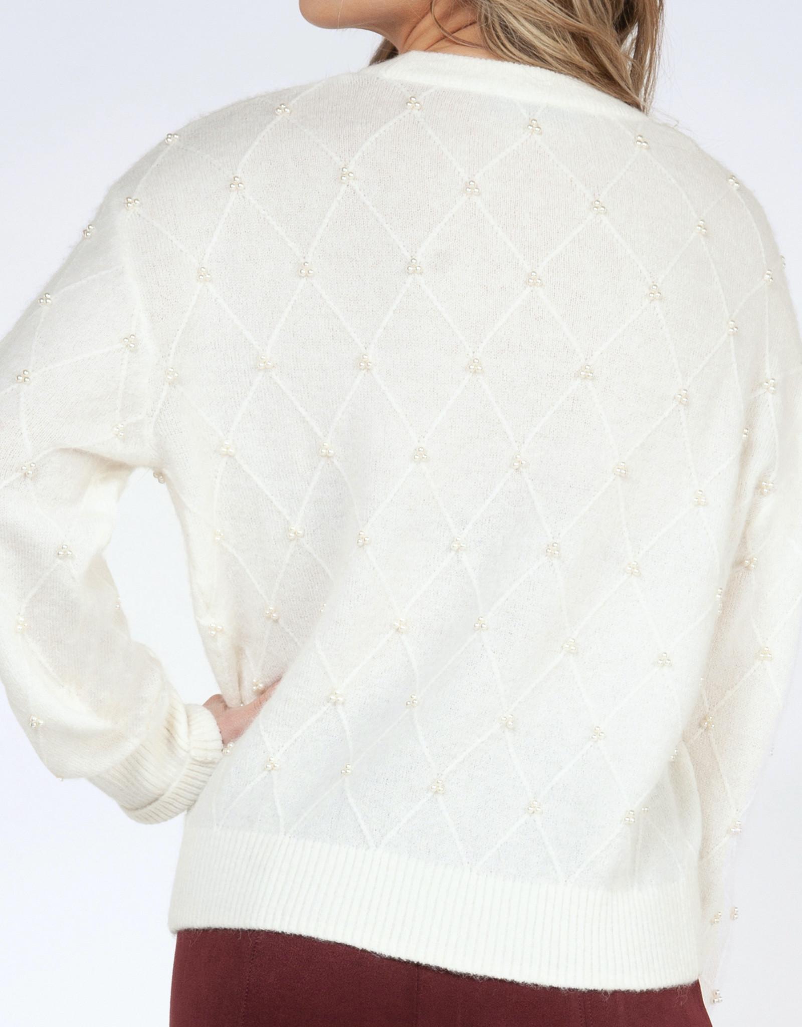 Black Tape Pearled Sweater