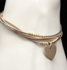 MERX Jewelry Triple Layer Heart Bracelet
