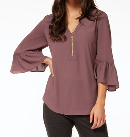 Black Tape CLEARANCE: Zip Front Ruffle Sleeve Top