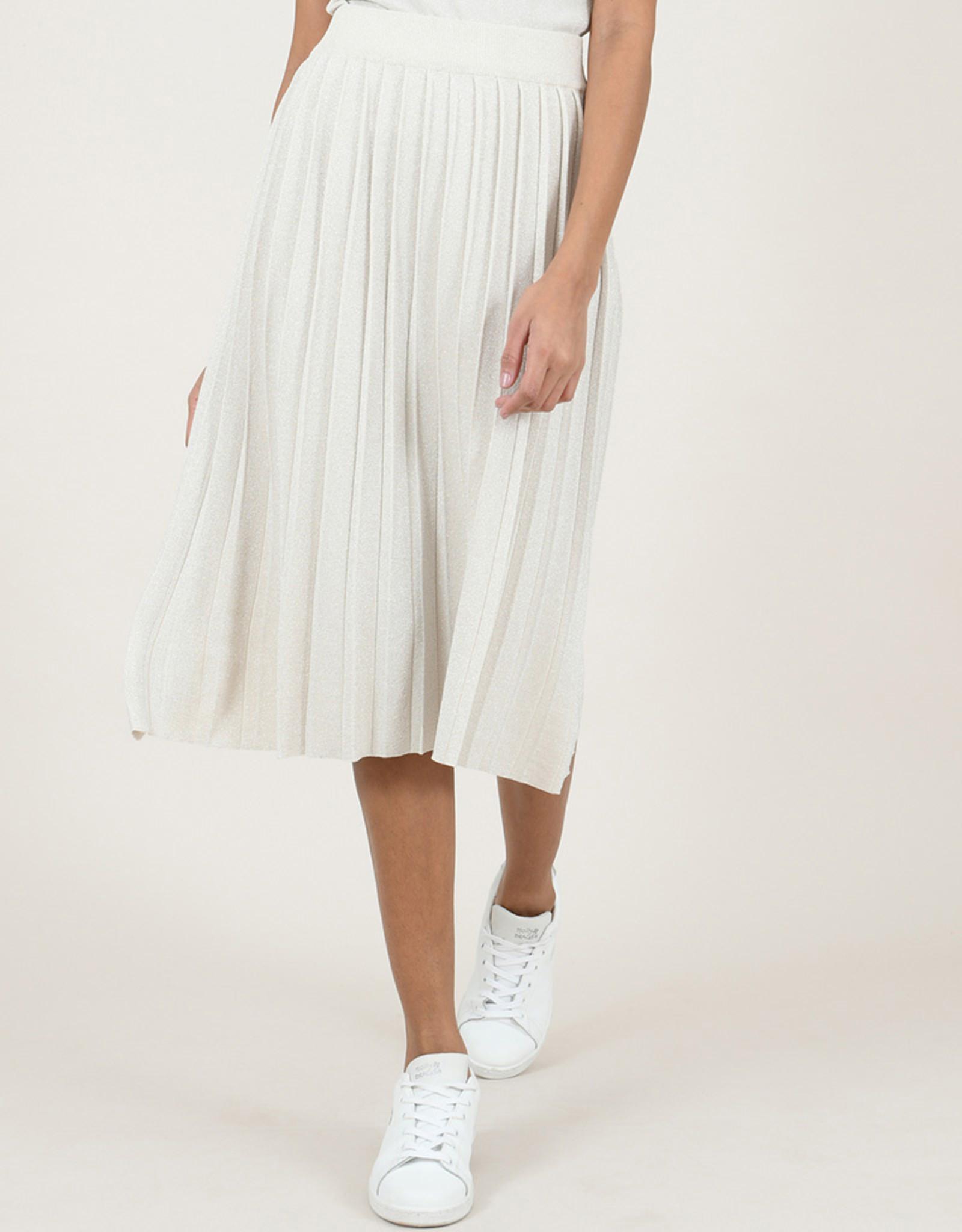 Molly Bracken Metallic Knit Pleated Skirt