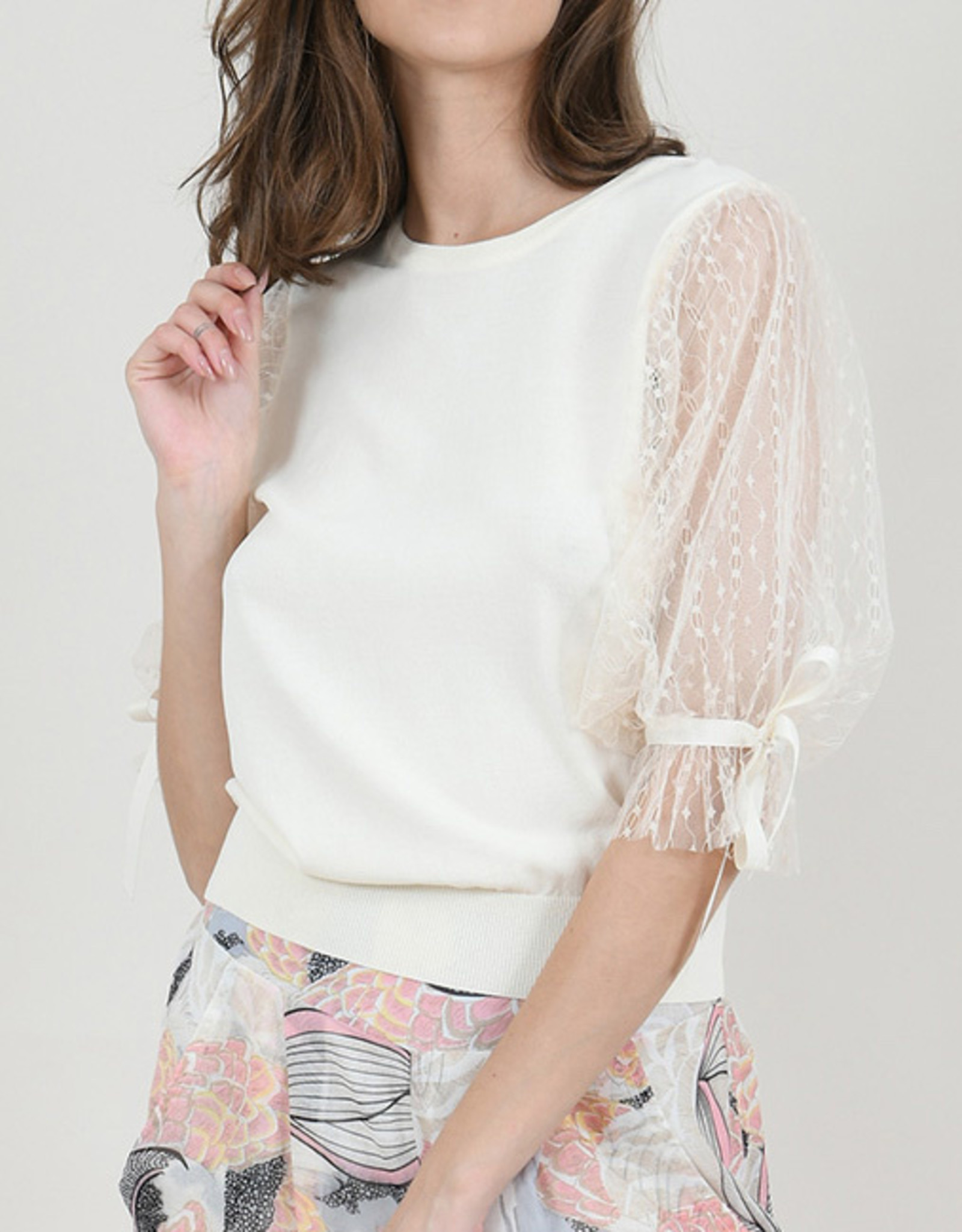 Molly Bracken CLEARANCE: Lace Puff Sleeve Sweater