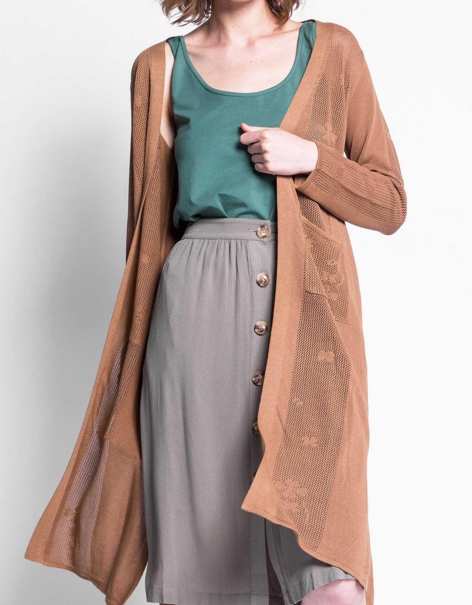 Pink Martini Pointelle Duster Cardigan