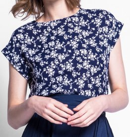 Pink Martini Floral Boatneck Top