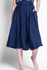 Pink Martini Belted Button Front Midi Skirt