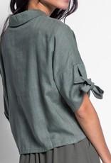Pink Martini Short Sleeve Blazer Top