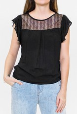 Pink Martini Ruffle Cap Sleeve Top with Lace