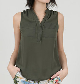 Molly Bracken V-neck Pop-over Sleeveless Blouse