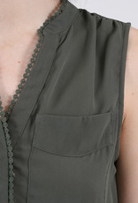 Molly Bracken V-neck Pop-over Sleeveless Blouse