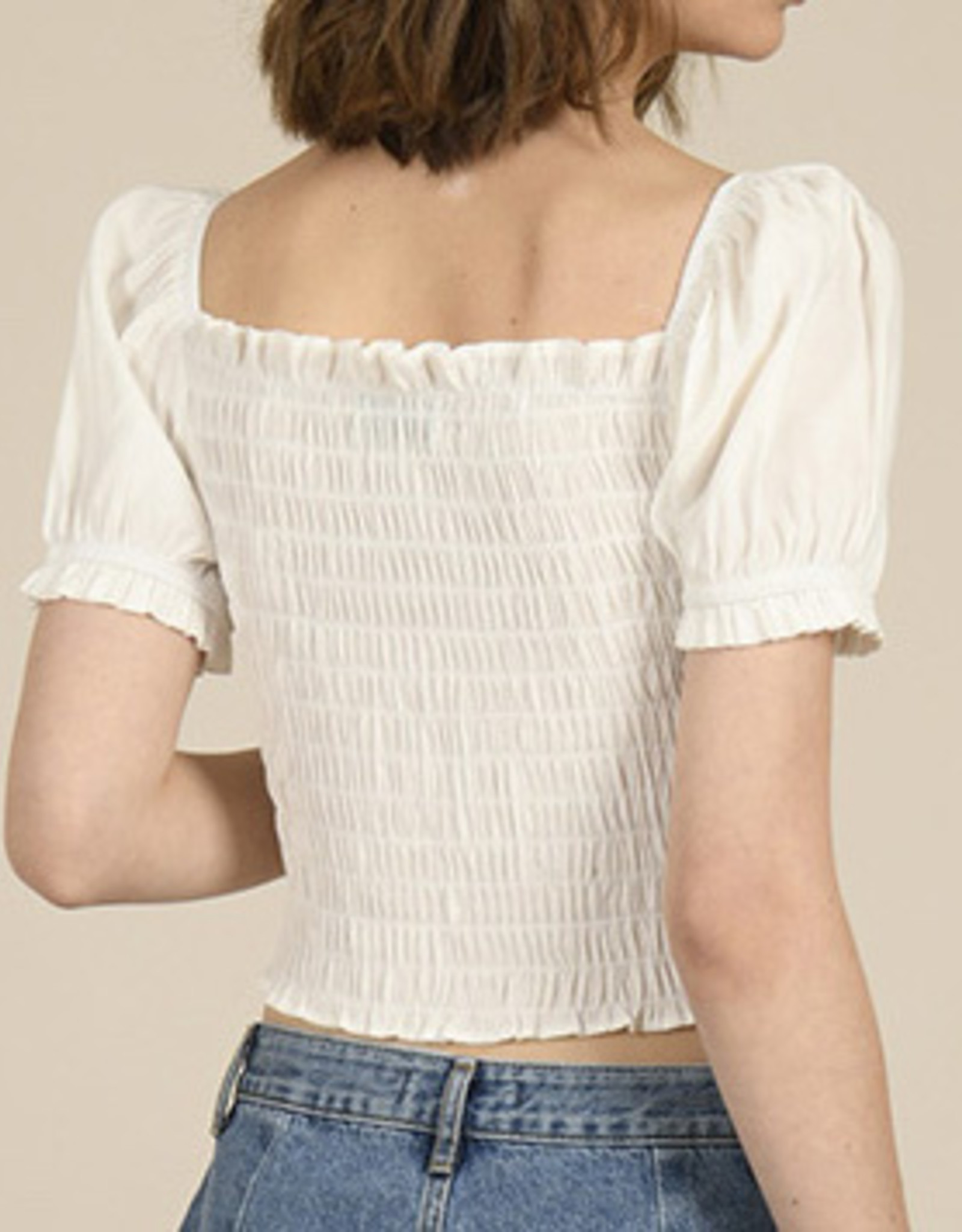 Molly Bracken Puff Sleeve Cropped Peasant Top