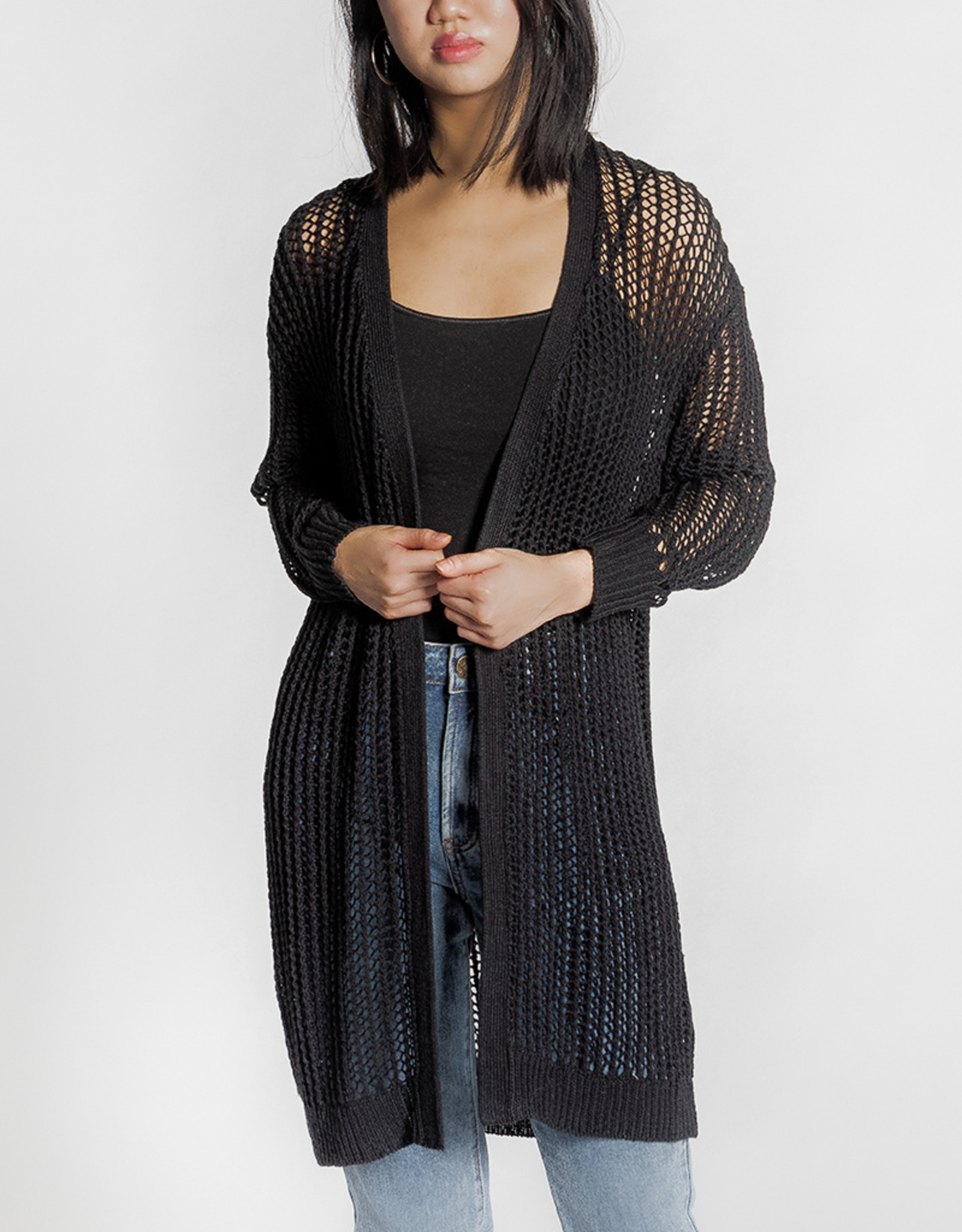 RD Style Mesh Open Front Cardigan