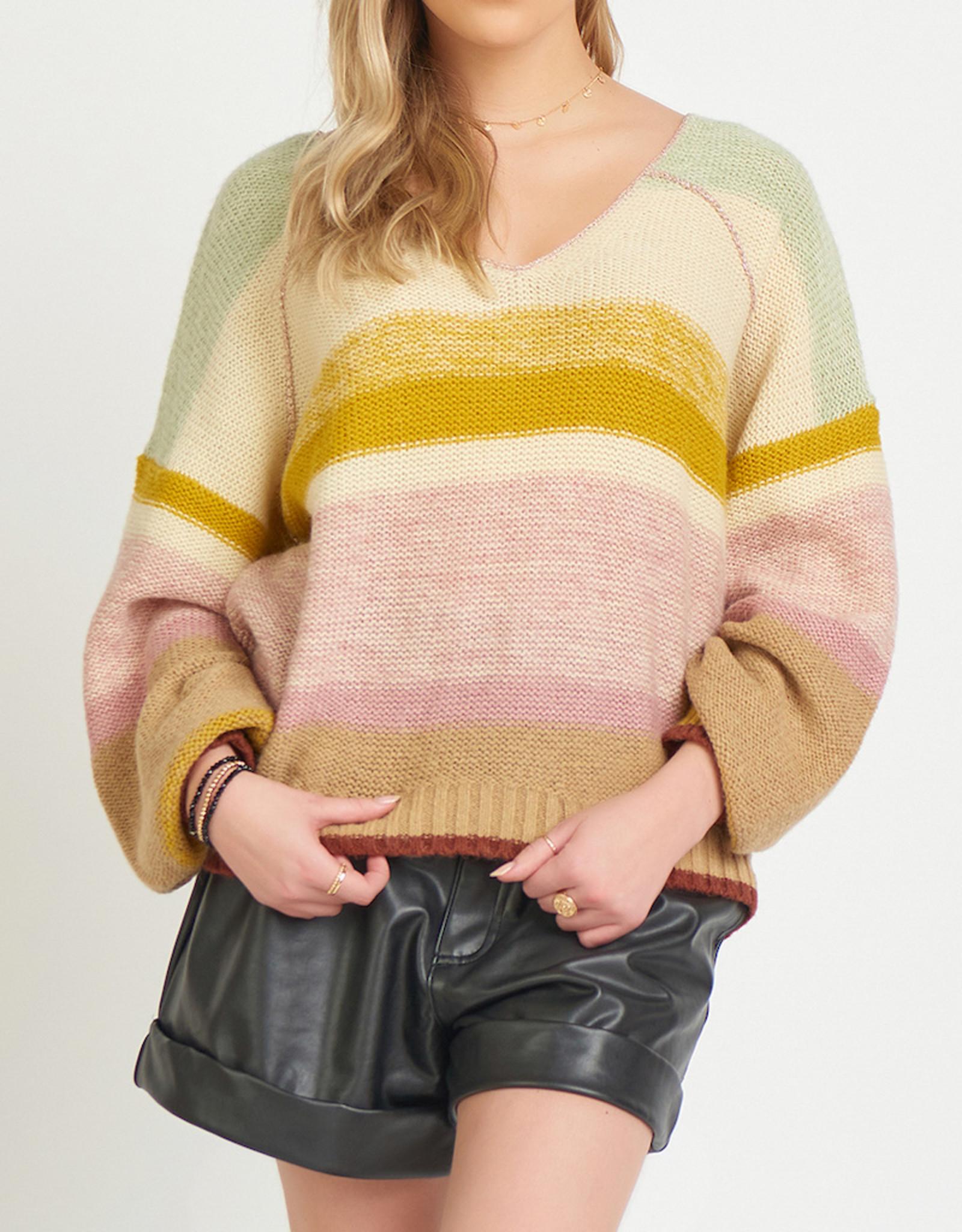 Dex Multicolored V neck Sweater