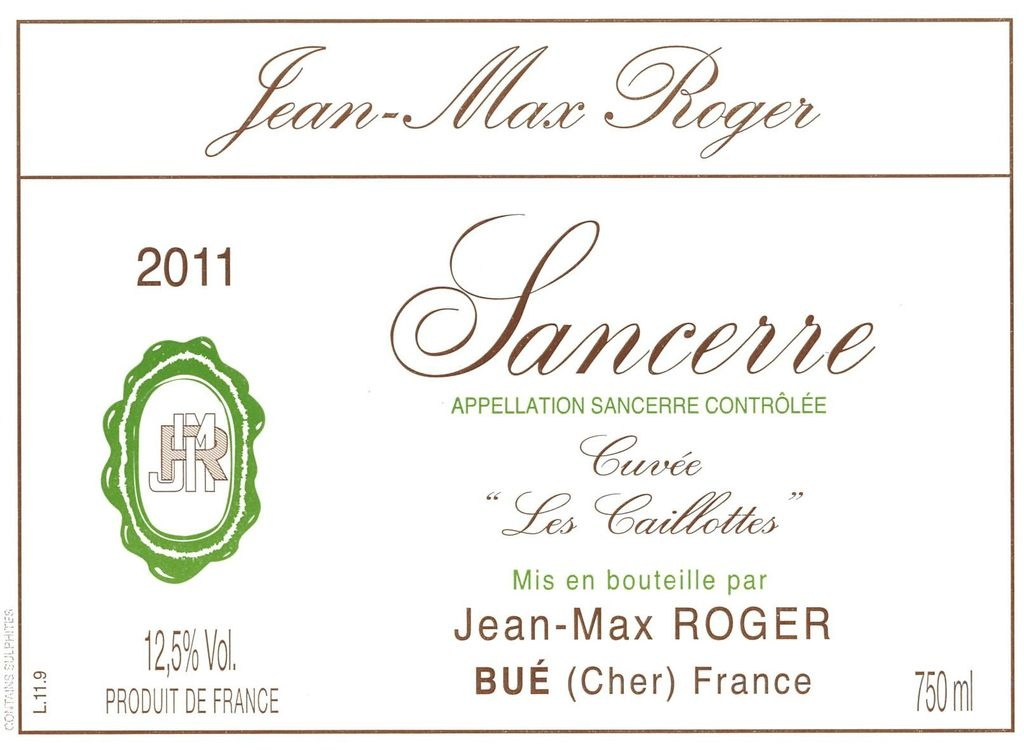 "Jean-Max Roger Sancerre ""Cuvée Les Caillottes"" 2018 750ml"