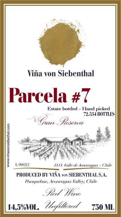 "Vina von Siebenthal ""Parcela #7"" Gran Reserva Aconcagua Valley Chile 2009 750ml"