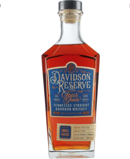 "Davidson Reserve ""Four Grain"" Tennessee Straight Bourbon Whiskey  750ml"