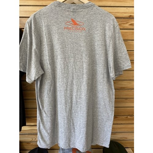 "Precision Fly Fishing Precision Orange ""P"" T-Shirt Light Heather Grey"
