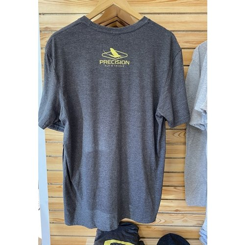 """Precision Fly Fishing Precision Yellow  """"P"""" T-Shirt Heather Carcoal"""