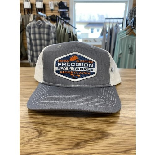 Precision Fly Fishing Precision Orange Fly Patch Grey/White Trucker Hat