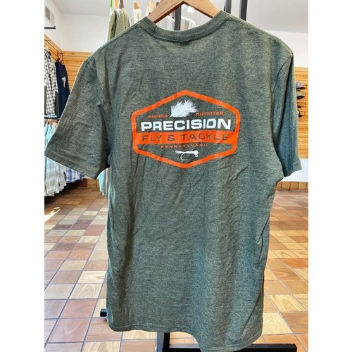 Precision Fly Fishing Precision Heathered Olive Orange/White Fly Tee