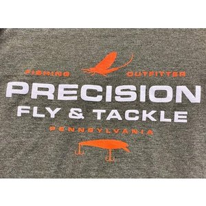 Precision Fly Fishing Precision Heathered Olive Orange/White Bass Plug Tee