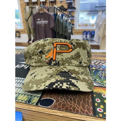 """Precision Fly Fishing Precision Camo Embroidered Orange """"P"""" Hat"""
