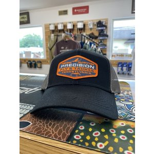 Precision Fly Fishing Precision Orange Tackle Patch Black/Grey Trucker Hat