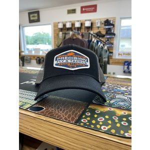 Precision Fly Fishing Precision Blue White Fly Patch Black/Grey Trucker Hat
