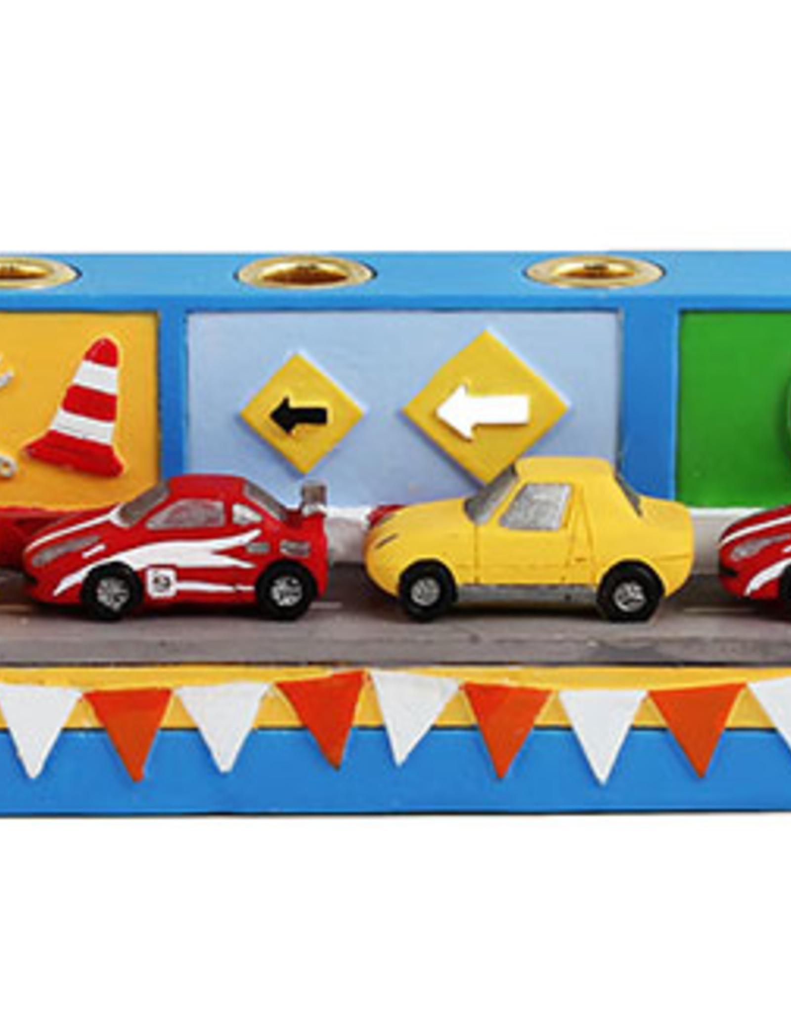 Menorah, Race Car, Poly Resin