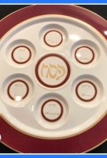 Seder plate, red/gold